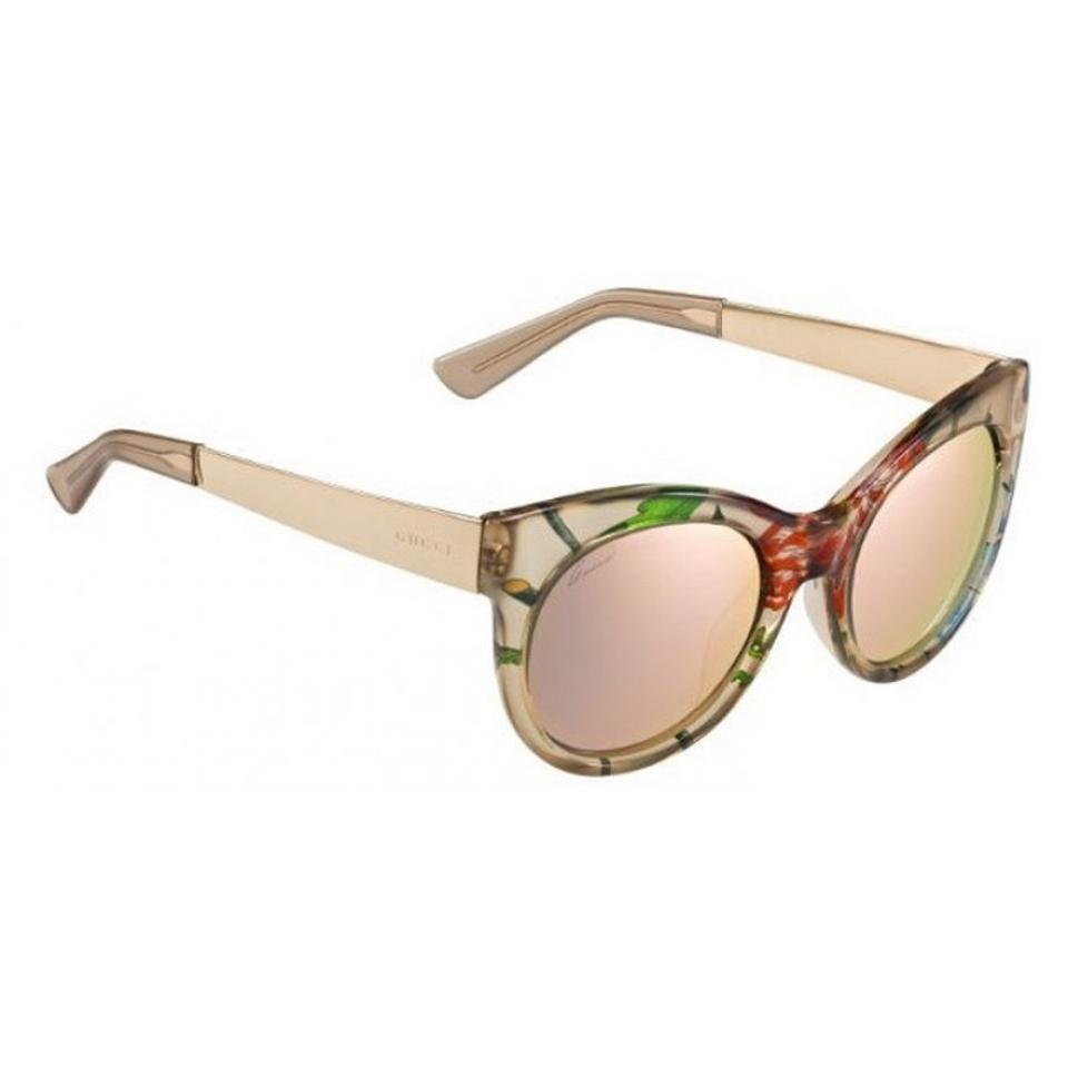 9ad50701bc Gucci Gold New 3740 S Beige Pink Flora Mirrored Cat Eye Sunglasses ...