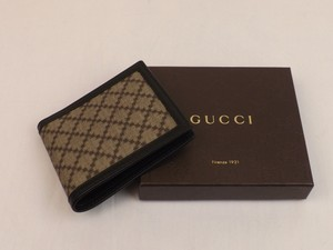 Gucci Beige / Black Diamante Canvas Bifold Leather Wallet #225826 Men's Jewelry and Accessories