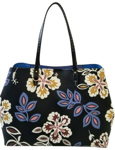 Tory Burch Floral Large Two Different Shapes Floral Tote in Black multi