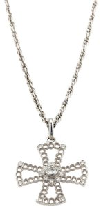 BUCCELLATI Diamonds Cross 18k White Gold Open Pendant