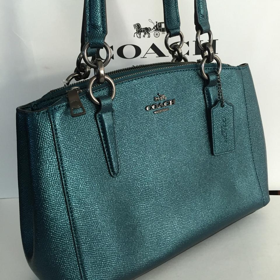 016af6e3f Coach Christie Carryall Mini Metallic Crossgrain F23337 Dark Teal Leather  Satchel - Tradesy