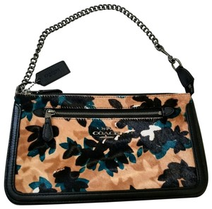 Coach Gold Hardware Leather Crossgrain Leather Two Way Crossbody Black Clutch