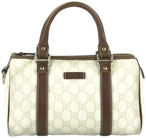 Gucci Boston Speedy Doctors Bowler Satchel in Beige and Ivory GG