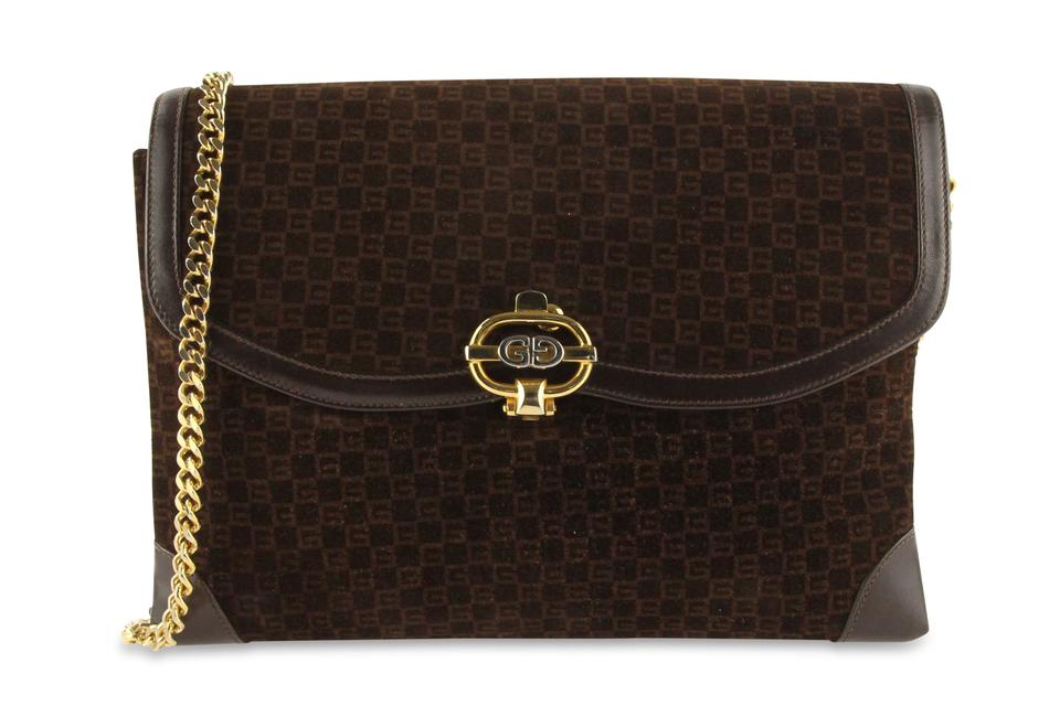 22016c58a58 Gucci Chain Flap Brown Suede Leather Shoulder Bag - Tradesy