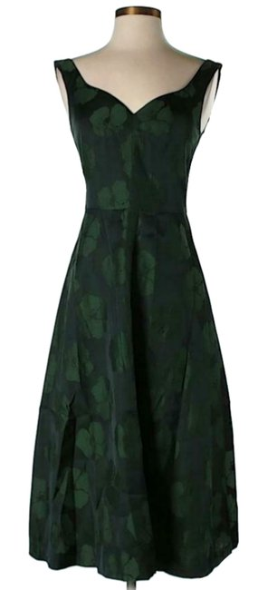 Item - Green Floral Sweetheart Mid-length Cocktail Dress Size 2 (XS)
