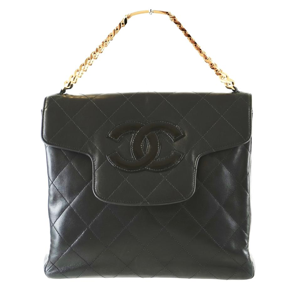 bf37484afb82 Chanel Flap Bag with Top Handle Quilted Matelasse Cc Logo Chain Hand Black  Lambskin Leather Tote