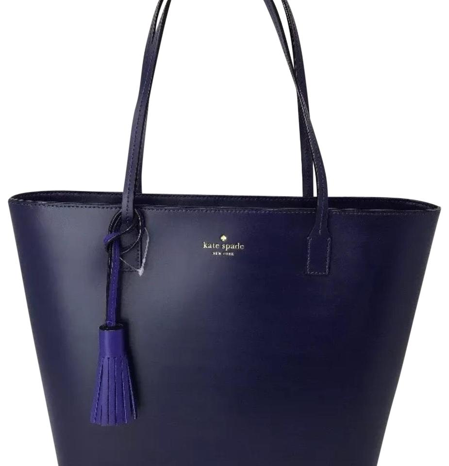 Kate Spade Karla Wright Place Shoulder Black with Tassel Navy Blue ... 6cd3f6af65d9c