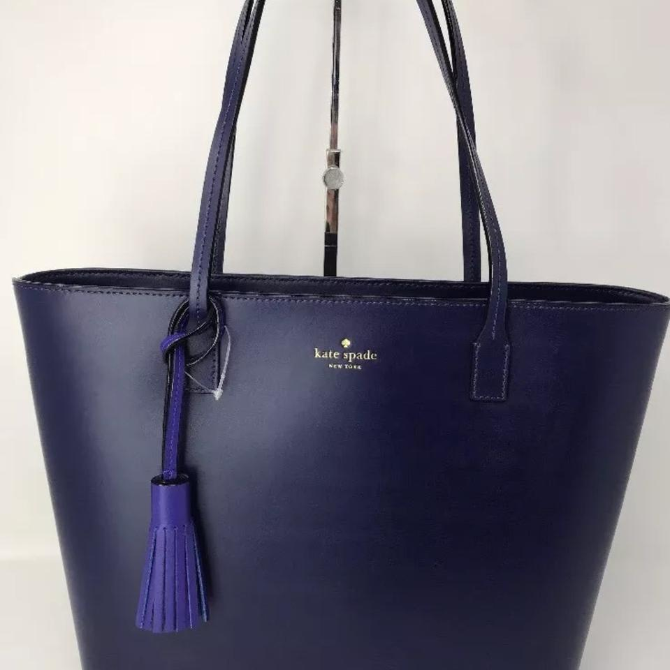 b796a2b2e1ef Kate Spade Karla Wright Place Shoulder Black with Tassel Navy Blue Leather  Tote - Tradesy