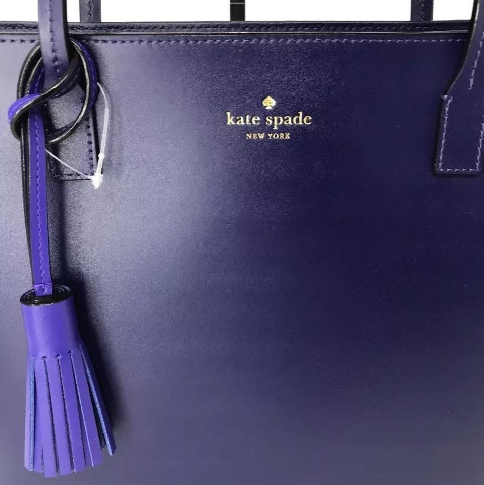 Kate Spade Karla Wright Place Shoulder Black with Tassel Navy Blue Leather  Tote 82473cfff2e66