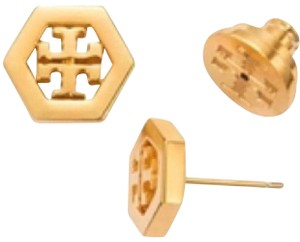 Tory Burch hex stud logo earrings