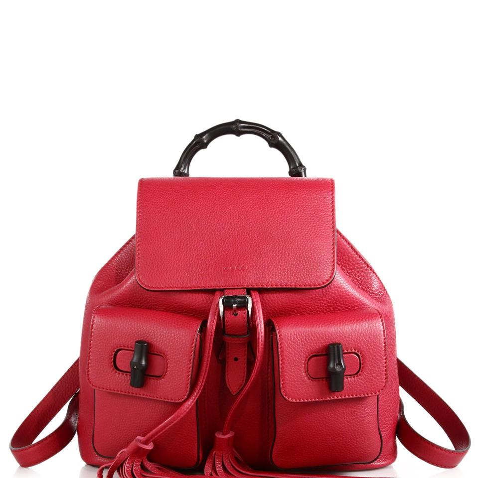 14786294c Red Leather Gucci Backpack