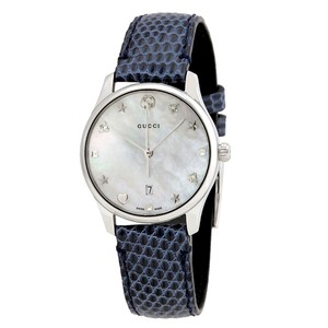 4c0e7320a07 Gucci Swiss G-Timeless Mother of Pearl Dial Ladies Blue Leather Watch