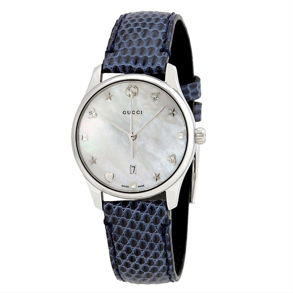 21f81064156 Gucci Swiss G-Timeless Mother of Pearl Dial Ladies Blue Leather Watch Image  0 ...