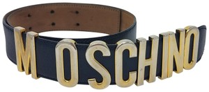Moschino Navy pebbled leather Moschino belt XS