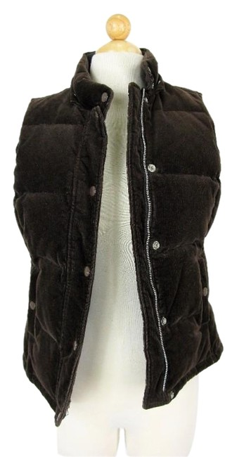 Item - Brown Quilted Corduroy Snap Front Down Filled Vest Size 2 (XS)