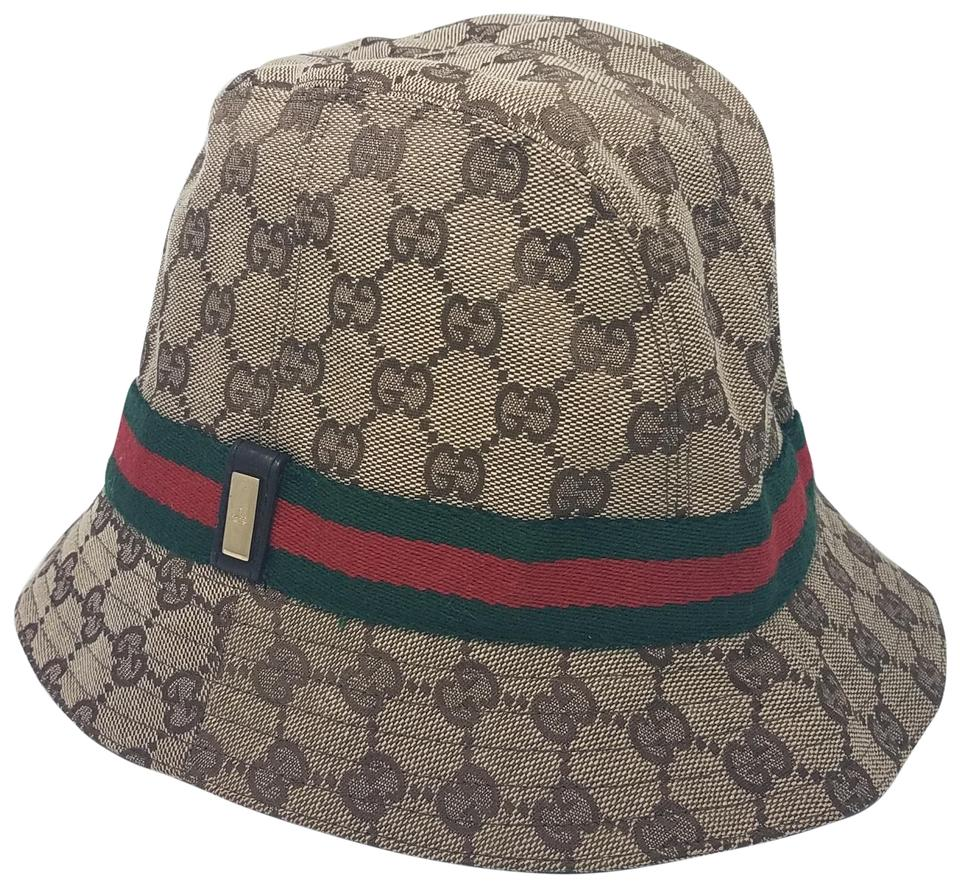 d1fadf5dc96 Gucci Beige Brown Green Red Gg Canvas Bucket M Hat - Tradesy