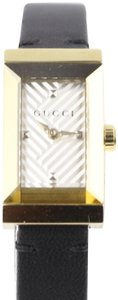 Gucci G-Frame Silver Dial Black Leather Strap
