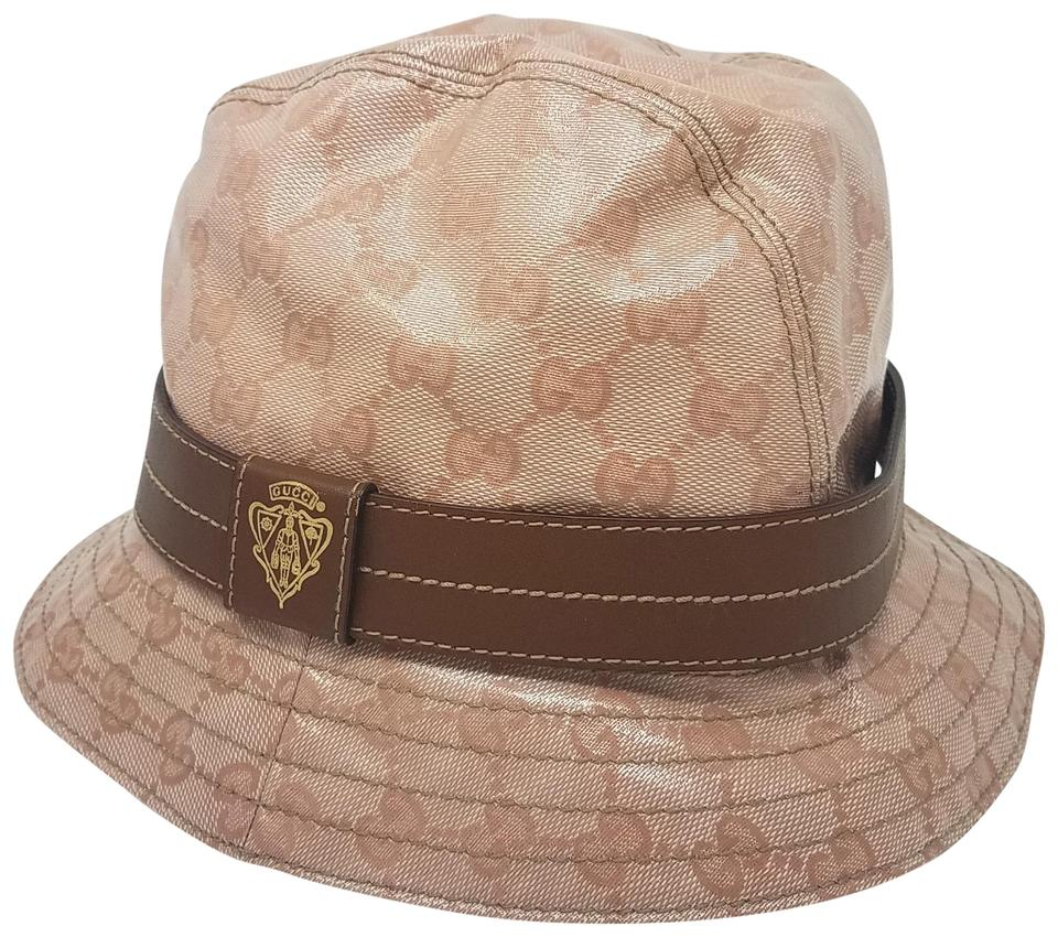 Gucci Pink Brown Beige Gg Canvas Crystal Bucket L Hat - Tradesy a321096a140