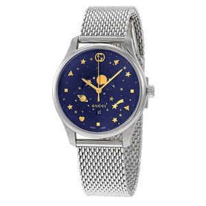 6d461f98c42 Gucci Silver Swiss G-timeless Blue Motifs Moonphase Dial Men s Watch ...