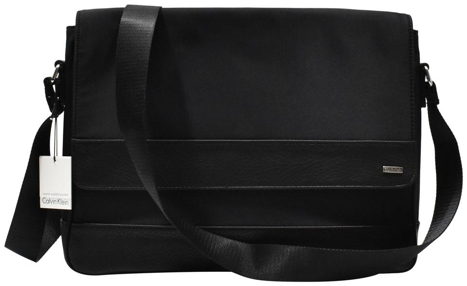 Calvin Klein Mens Messenger Black Nylon Leather Cotton Cross Body ... 7a05562a41