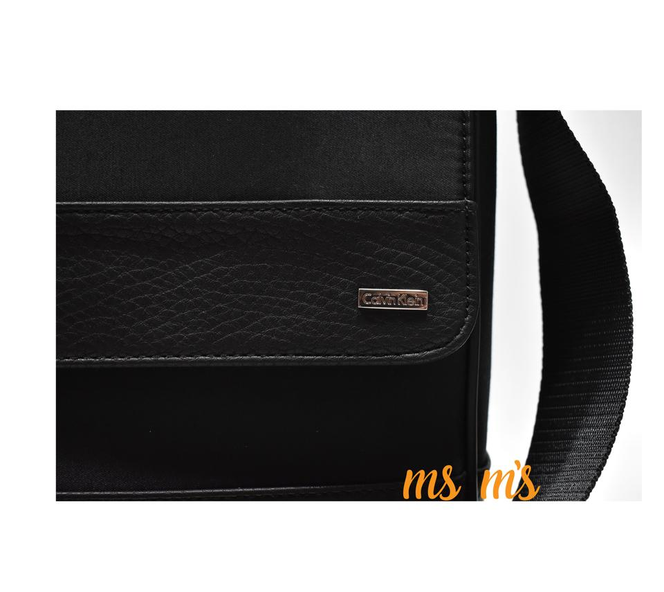 c59f9add943e Calvin Klein Messenger Mens Black Nylon Leather Cotton Cross Body ...