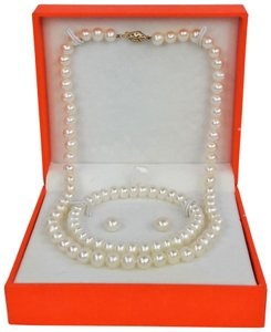 "Mandarin & General MANDARIN Cultured White Pearl 17"" Necklace, Stud Earrings & Bracelet"