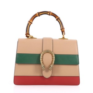Gucci Leather Tote in nude, green and red