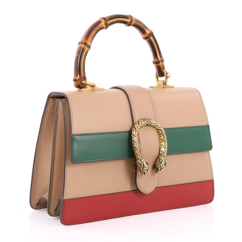 c0372ffe081 Gucci Dionysus Bamboo Top Handle Colorblock Medium Nude Green and ...