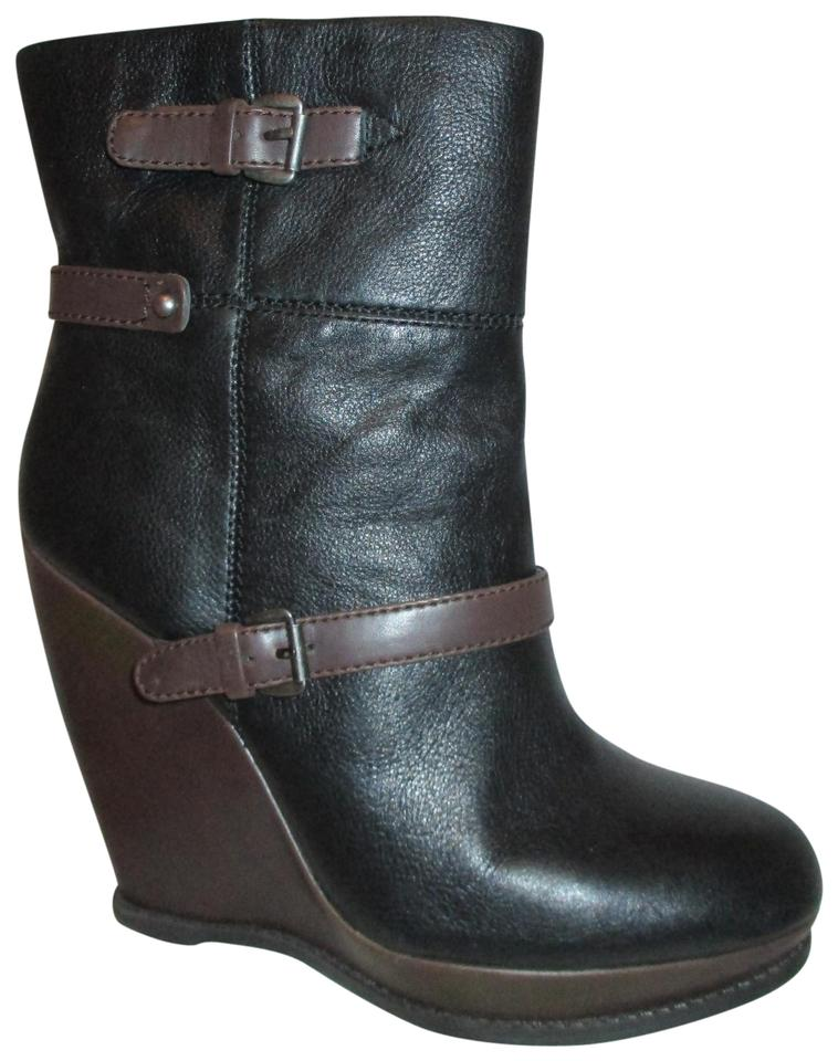 9ebae5d02cc Nine West Black & Brown Crespina Leather Wedge Boots/Booties Size US 8  Regular (M, B)