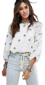 Free People Sheer Lace Palm Embroidery Top NWT White