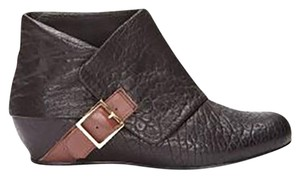 Elizabeth and James Wedge Patterned Leather New Black w/Brown & Gold Buckle Boots