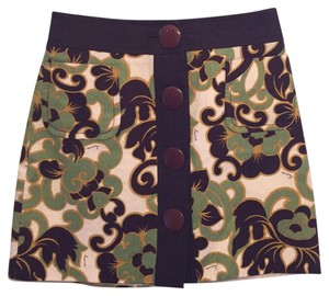 MILLY Mini Skirt brown/green/tan floral print
