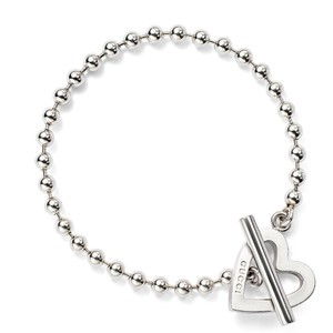Gucci Brand New Sterling Silver Toggle Heart Bracelet