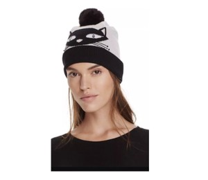 243ae6a17 Kate Spade Black Cream Multi Cool Cat Beanie with Pom It Hat