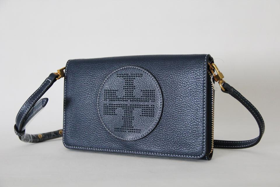 ee728448e321 Tory Burch Perforated Logo Flat Wallet Blue Leather Cross Body Bag - Tradesy