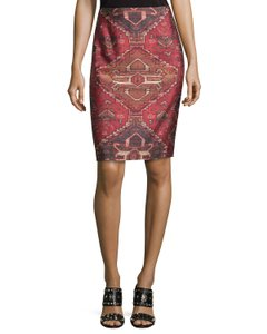 Tory Burch Print Casual Pencil Silk Wool Mini Skirt Multi-Color