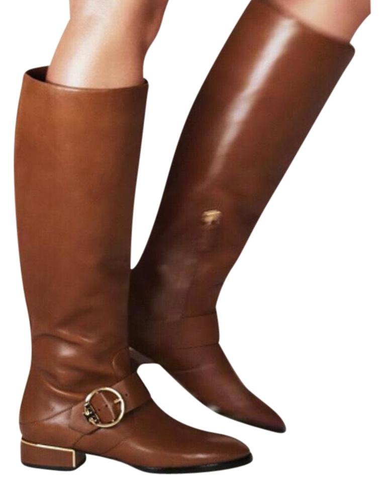 fd486602c1e6 Tory Burch New Festival Brown Sofia Tall Leather Buckled Riding Boots  Booties