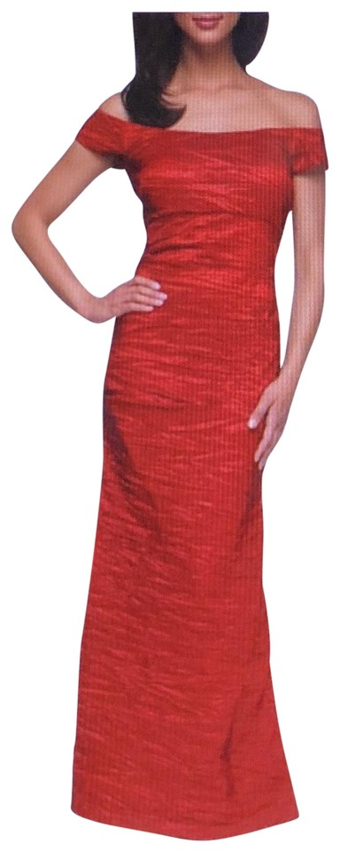 Alex Evenings Red Off-the-shoulder Stretch Taffeta Gown Long Formal ...