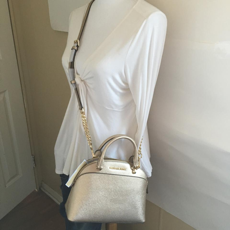 b0eb13c1fc48 Michael Kors Emmy Small Dome Pale Gold Leather Satchel - Tradesy