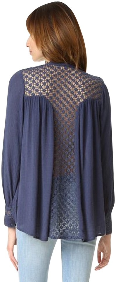 Free People Navy Lace Back Gauze Button-down Blouse Size 6 (S) 49% off  retail