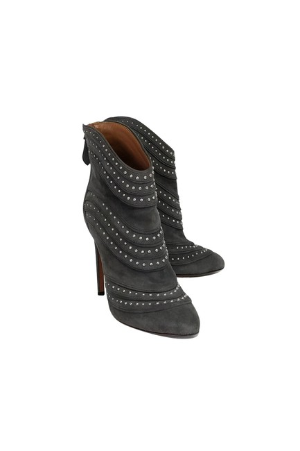 Item - Grey Suede Studded Ankle Boots/Booties Size US 7 Regular (M, B)