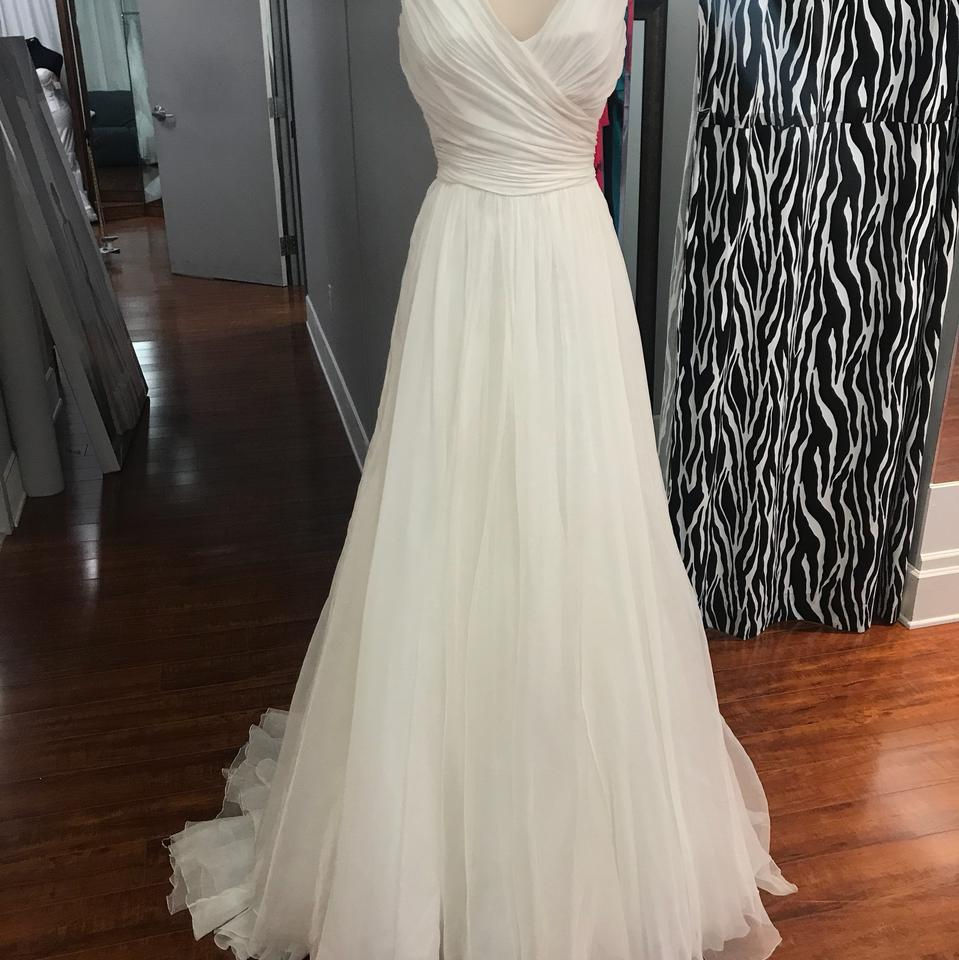 Pronovias Ivory Organza Yesel Modest Wedding Dress Size 10 (M) - Tradesy
