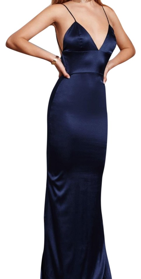 a7e744874b6 Navy Blue Silk Sachi Lu Gown Long Night Out Dress Size 4 (S) - Tradesy