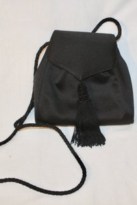 Susan Gail Rope Satin Evening Tassel Beaded black Clutch