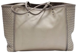 Bottega Veneta Leather Lamb Snake Intrecciato Tote in sand
