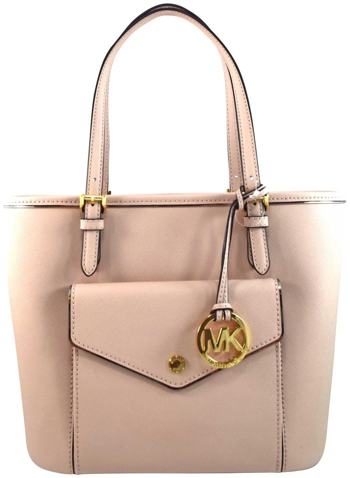 8970e8ee8158 Michael Kors Saffiano Frame Pink Ballet Leather Tote - Tradesy