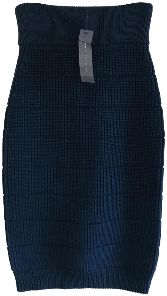 851151bb53 Marc by Marc Jacobs Bright Navy Compact Wool Sweater Knit Skirt Size ...