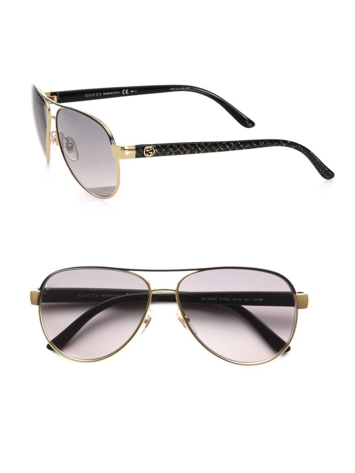 14cbe9ebafd Gucci NEW Gucci GG 4239 S Black Gold Aviator Sunglasses Image 0 ...