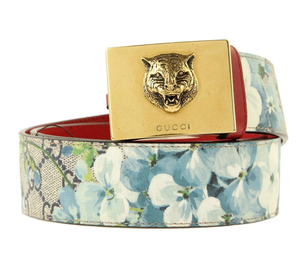 c9973d8ee12 Gucci Blue Tiger Buckle Gg Supreme Blooms Belt - Tradesy