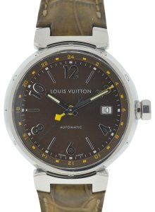 Louis Vuitton Louis Vuitton Tambour Stainless Steel Leather Strap Automatic Watch